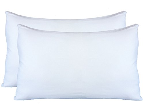 Exclusive! Stretch Jersey Pillow Cases with Invisible Zipper, Universal Size fit All King, Queen and Standard Size Pillows, Modal Rayon Spandex 180 Gram, Soft Than Cotton, Pack of 2, White