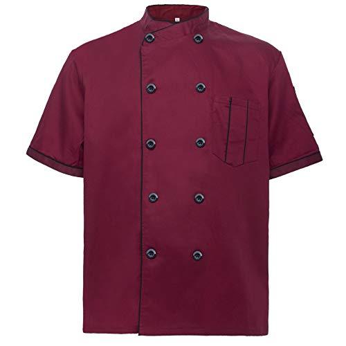 (TOPTIE Unisex Short Sleeve Chef Coat Jacket, Red)