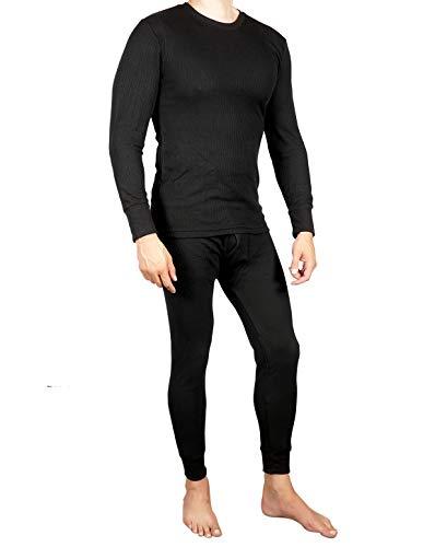 Joe Boxer Mens 2pc Thermal Underwear Set, Crew Top Shirt + Pants Bottom - Long John Set (Black, 2X)