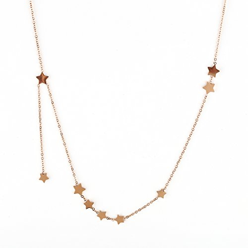 Designer Star Necklace - United Elegance Stylish Rose Gold Tone Designer Star Necklace with Delicate Falling Star Charm