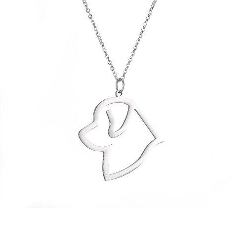 Newfoundland Head - Cute Newfoundland Head Pendant Necklace Animal Dog Hollow Jewelry Necklace (Silver)