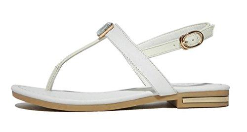 Bottom Shopping Plage Ladies Étudiants Confortable Loisirs Noir Flat Sandals Leather Blanc xie Summer 0wvzwU