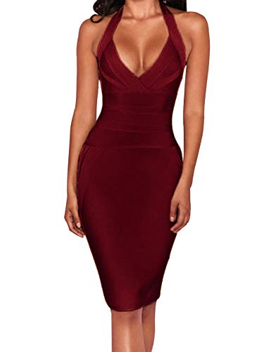 UONBOX Women's Sexy Halter V Neck Knee Length Party Rayon Bodycon Bandage Dress (Wine, XL)