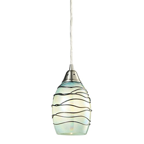 - Elk Lighting 31348/1MN Vines Collection 1 Light Pendant, Satin Nickel