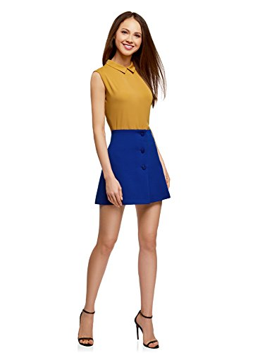 7500n Boutons avec Jupe Bleu Ultra Dcoratifs Femme Trapze oodji pqxSUgw81g