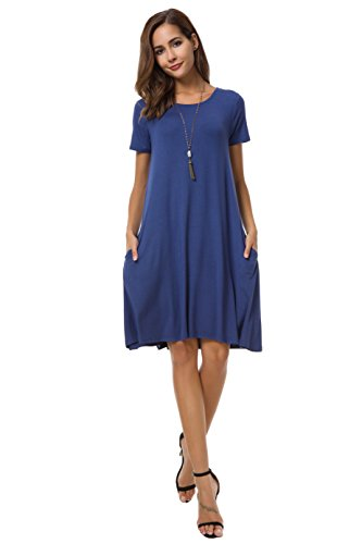 Coreal Women Short Sleeve T-Shirt Swing Dress with Pockets Knee-Length Casual Loose Tunic Dress Royal Blue Large