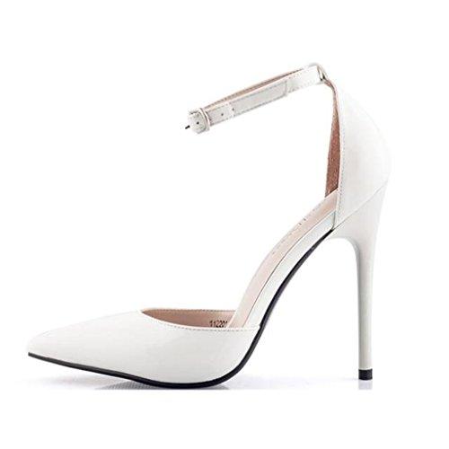 Single shoes - female Chaussures pour femmes - L'Europe et les États-Unis super talons modèles sexy 12cm pointu chaussures blanches (Couleur : High 10cm, taille : 35-Shoes long225mm) High 12cm
