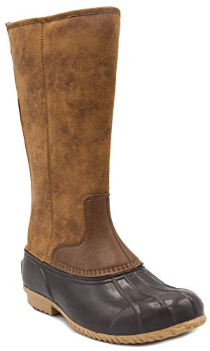 London Fog Womens Whitley Cold Weather Tall Duck Boot Brown 6