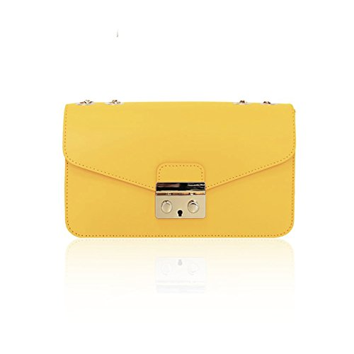jaune en fabriqué pâle en main à chaîne à cuir sac lisse or bandoulière Pochette Baguette avec Sac Italie AMELIA nUZvq