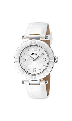 Lotus Reloj de Cuarzo para Mujer con Blanco Esfera analógica Pantalla y Correa de Piel Color Blanco 15912/1: Amazon.es: Relojes