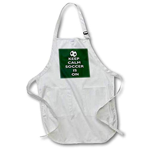 3dRose AmansMall Sports and Typography - Keep Calm Soccer is On Green Starburst Background, 3drsmm - Medium Length Apron with Pouch Pockets 22w x 24l (apr_291814_2) by 3dRose
