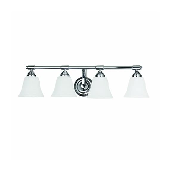 Yosemite Home Decor 5924CH 27.5-Inch 4-Light Bathroom Vanity, Chrome - Width 27.5-Inch by height 7.25-Inch by depth 7.25-Inch Requires (4) medium-based, 100-Watt incandescent bulbs (not included) Chrome frame with linen frosted glass - bathroom-lights, bathroom-fixtures-hardware, bathroom - 31GodhW2%2BZL. SS570  -