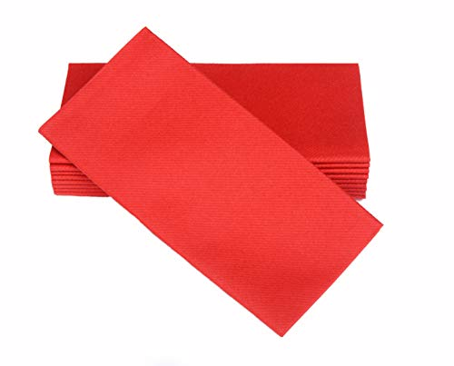 "Simulinen Dinner Napkins – Disposable, Fiesta RED, Cloth-Like – Elegant, yet Heavy Duty Soft, Absorbent & Durable – 16""x16"" – Box of -"