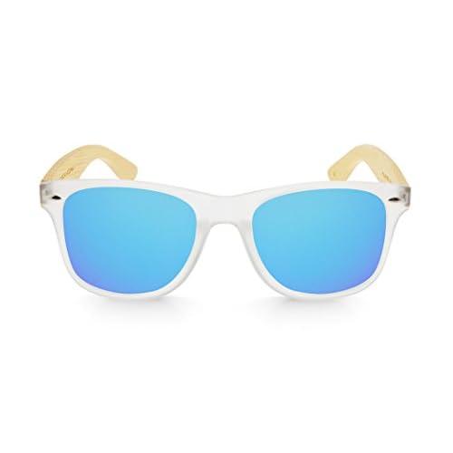 27c797ce61 Hombre Gafas de Madera Mosca Negra Modelo Mix Solid Black and Ice Blue Wood  Sunglasses Mosca Negra Sunglasses