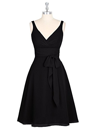 Gown Short Women Black Anlin Homecoming Prom Chiffon Evening Bridesmaid Straps s Dress avd7x