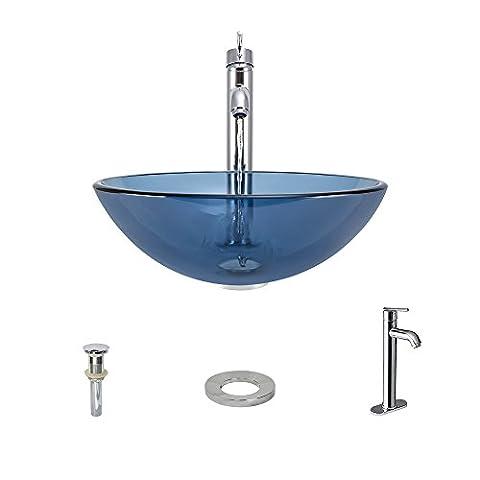 The MR Direct 601 Aqua Chrome Bathroom 718 Vessel Faucet Ensemble (Bundle - 4 Items: Vessel Sink, Vessel Faucet, Pop-Up Drain, and Sink (4 Vessel Sink)