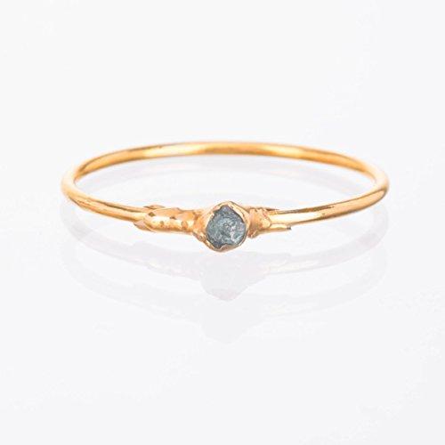 Raw Blue Diamond Ring, Yellow Gold, Size 6, Rough Gemstone Jewelry