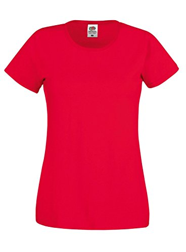 Fruit of the Loom - Camiseta de manga corta para mujer Rosso