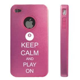 Apple iPhone 4 4S 4 Pink D2599 Aluminum & Silicone Case Cover Keep Calm and Play On Billiards 8 Ball