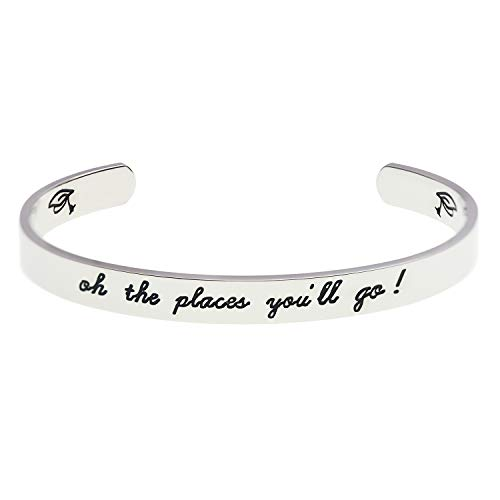 LParkin 2019 Graduation Gift Oh The Places You Will Go Bracelet, Stainless Steel (White) ()