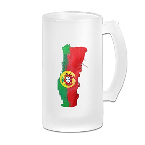 Portugal Map Portuguese Flag Frosted Glass Tumbler Beer Cup 16 Oz Water Glass Drinkware