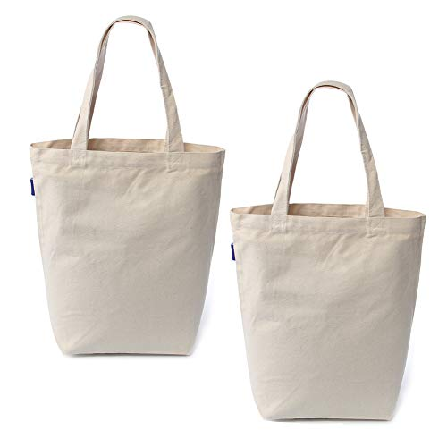 Canvas Tote Bag Reusable Canvas Grocery Bags Washable 100% Natural Cotton Eco-Friendly Durable Shoulder Shopping Bag (Natural, set of 2 pcs)