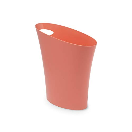 Umbra Skinny Sleek & Stylish Bathroom Trash, Small Garbage Can Wastebasket for Narrow Spaces at Home or Office, 2 Gallon Capacity, Coral, Single Pack, (Orange Trash Can)