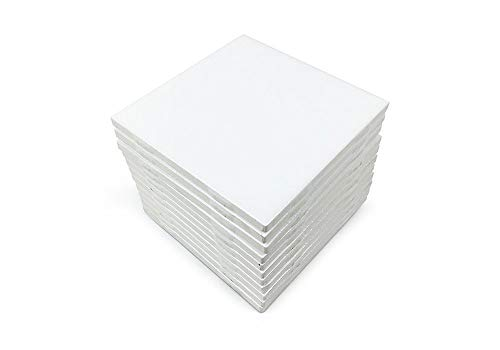 - Set of 12 Glossy White Ceramic Tiles for Arts & Crafts by Squarefeet Depot Genuine Made in USA (4.25