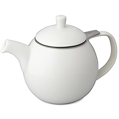 FORLIFE Curve 24-Ounce Teapot with Infuser, White