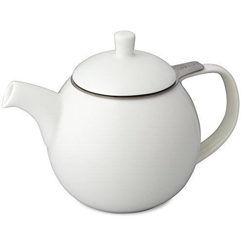 FORLIFE Curve Teapot with Infuser, 24-Ounce, White