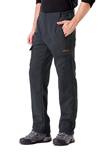 - Clothin Men's Softshell Fleece-Lined Cargo Pants - Warm, Breathable, Water-Repellent, Wind-Resistant-Insulated(Grey,S)