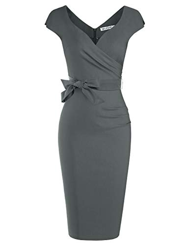 - MUXXN Womens 1940s Style Cap Sleeve Ruched Package Hip Nigh Club Tea Dress (Gray M)