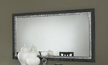 Beau Miroir De Salle à Manger Design Laqué Noir + Strass PAMELA Longueur 145 Cm