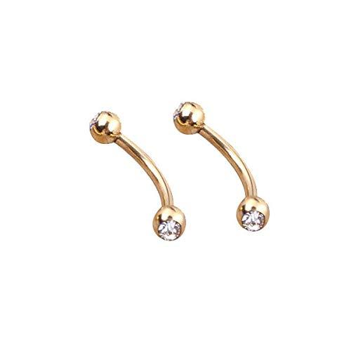 2X 16G 1.2mm Gold Surgical Steel Gem Ball Barbell Curved Eyebrow Ring Bar Tragus | Colors - white - Gem Aurora Bioplast