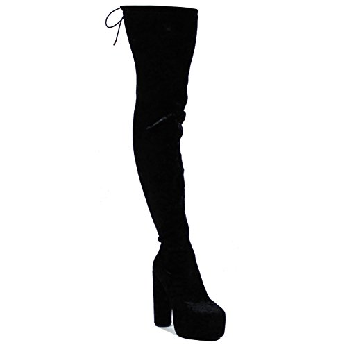 Mujer Muslo Dedo Puntiagudo Talón De Bloque Plataforma Vestir Moda Botas Negro Terciopelo