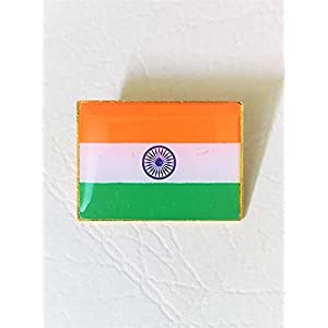 Nimida Indian National Flag Brass Glass Topped Lapel Pin/Brooch / Badge for Clothing Accessories – Large – Pack of 2 nos…