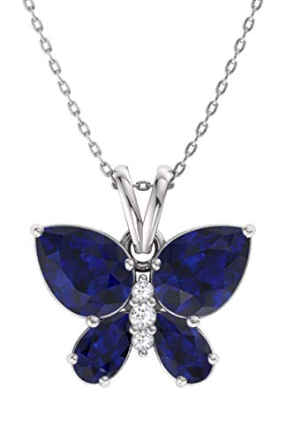Diamondere Natural and Certified Blue Sapphire and Diamond Butterfly Petite Necklace in 14k White Gold | 1.11 Carat Pendant with Chain