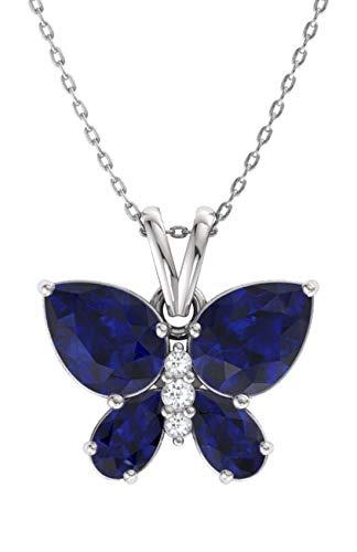 Blue Sapphire Diamond Necklace - Diamondere Natural and Certified Blue Sapphire and Diamond Butterfly Petite Necklace in 14k White Gold | 1.11 Carat Pendant with Chain