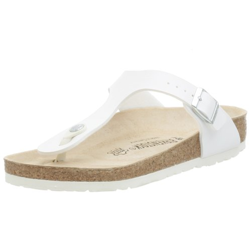 Birkenstock Women's GIzeh Thong Sandal, White, 39 M EU (Leather White Thong)
