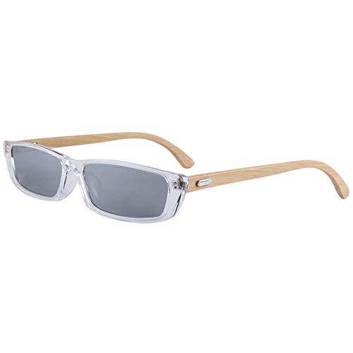 clásico los Gafas Blanco Color Hombres de UV400 cuadradas de Retro bambú sol bambú Marco Gafas Negro de de Hombres protección Gafas tZqp88wx