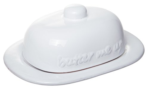 """Butter Me Up"" Classic Terracotta Butter Dish, Glazed Ceramic White, 7-inch"