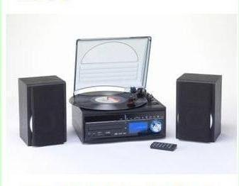 Steepletone Memphis Music Centre With DAB Digital Radio Record Turntable - FM Radio - Cassette Tape Player - SD & USB Encode Recording - Black