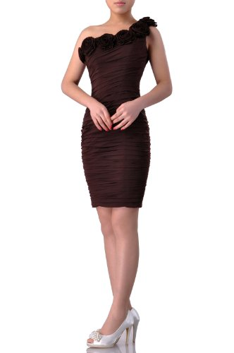 Una Spalla Natrual Breve Cocktail Bordeaux Dress Chiffon HqvSAyW
