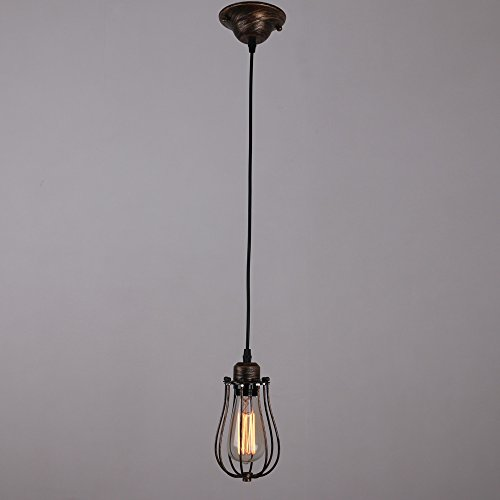 UNITARY-BRAND-Vintage-Metal-Cage-Shade-Barn-Pendant-Light-Max-60W-With-1-Light-Painted-Finish
