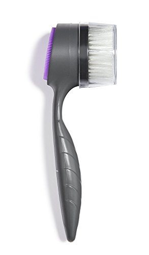 THE PERFECT FACE BRUSH - Patented Dual-Sided Exfoliating, Cleansing, and Massaging Facial Brush - All Skin Types - Soft Exfoliating Bristles and Silicone Cleansing and Massaging Pad, Ergonomic Handle