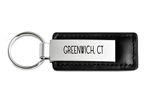 (Greenwich Connecticut Souvenir Engraved Leather Keychain)