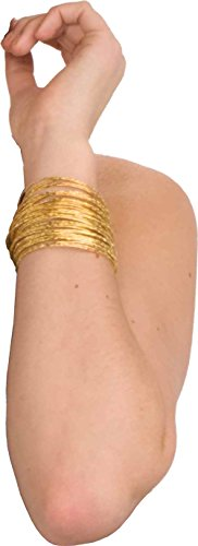 Bollywood Costumes Men (Women's Set of 50 Thin Sparkling Gold Disco Bangle Bracelets)