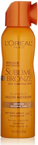 L'Oreal SUBLIME BRONZE Self-Tannning Mist, Medium Natural Tan 4.60 oz (Pack of 10) by L'Oreal Paris