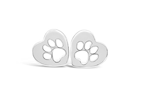 - Rosa Vila Heart Dog Paw Print Earrings, Puppy Earrings for Owners of All Dog Breeds, Dog Remembrance Earrings, Veterinarian and K9 Officer Jewelry Gift for Women (Silver Tone)