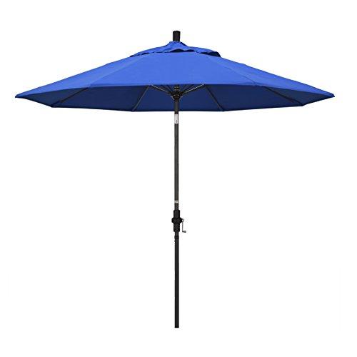 California Umbrella 9' Round Aluminum Pole Fiberglass Rib Market Umbrella, Crank Lift, Collar Tilt, Black Pole, Royal Blue Olefin
